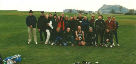 1999 Swansea University team photo at Braid Hills Edinburgh