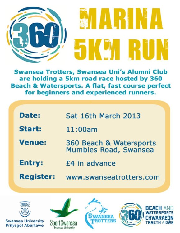 360 centre, 360 Marina 5k, 360 Beach and Watersports, Swansea Trotters Alumni Club, swansea trotters 5k, 5k road race, swansea council, swansea university, sport Swansea, swansea bay, swansea marina