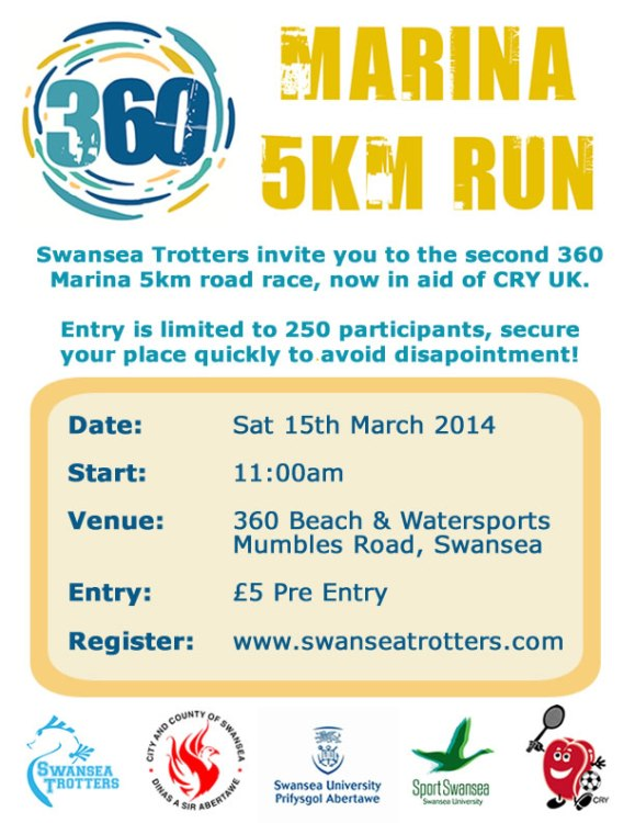 360 marina 5km, swansea bay, swansea university, 5km road race, cry, 360 beach & watersports